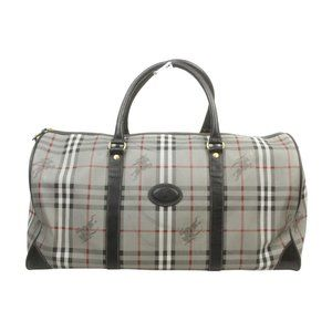 Auth Burberrys Travel Bag Gray Coated #15462B21